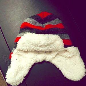 Winter Striped Hat Size 4-6x ear muffs winter warm